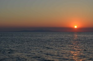 View of Thassos from Samothraki at Sunset