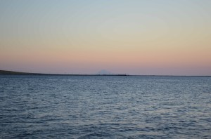 View of Mt. Assos from Samothraki at Sunset